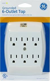 ge grounded 6 outlet tap electrical multi plug home improve travel