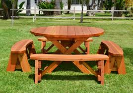 Cheap Picnic Benches Round Wood Picnic Table With Wheels Forever Redwood