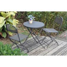 Grey Bistro Table Cafe Espresso Folding Mesh Bistro Set In Graphite Grey Next Day