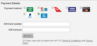 gift card online can a hoyts gift card be redeemed online how hoyts support