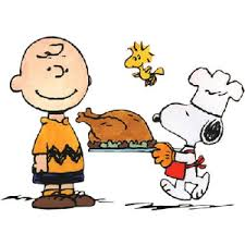 brown snoopy woodstock thanksgiving dinner