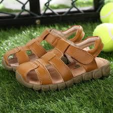 4 clors boys soft leather sandals closed toe toddler baby boys