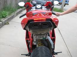 motorcycle license plate frame with led brake light custom led tail light and license plate bracket installed today