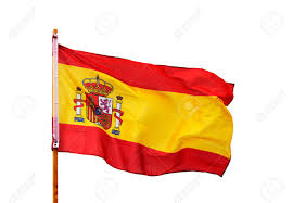 Spanish Flag Spanish Flag In The Wind Isolated On White Background Stock Photo