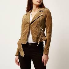 river island brown suede biker jacket in brown lyst