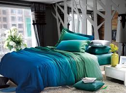 awesome gradient green blue bedding set king queen size solid