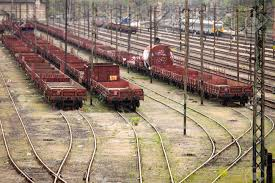 rusty train old rusty freight wagons on the railway stock photo picture and