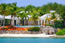 luxury waterfront house with pool on antigua stock photo image