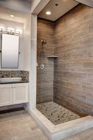 bathroom shower subway tile master bath room wood accent wall