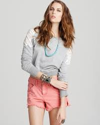free people top tattered lace sweatshirt bloomingdale u0027s