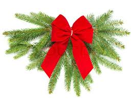 christmas tree branch with red ribbon christmas decoration stock