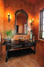 mediterranean bathroom design powder room venetian plaster and antique vanity mediterranean
