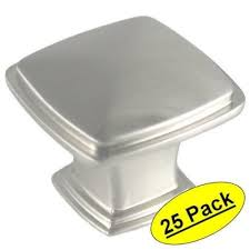 square brushed nickel cabinet knobs pack of 25 cosmas cabinet hardware satin nickel square knobs 4391sn