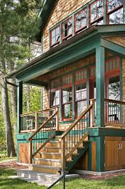 metal porch railing exterior victorian with adirondack chair