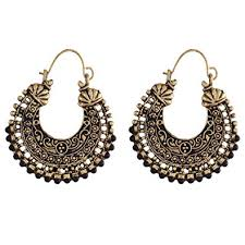 metal earings buy ganapathy gems black metal hoop earring for women online at