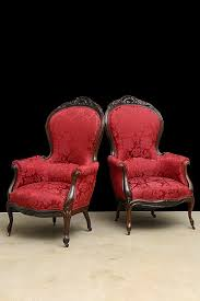 Kissing Chairs Antiques Pair Of English Antique Victorian Period Carved Rosewood Parlor