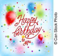 stock illustration of happy birthday on purple balloons birthday