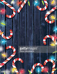 Candy Cane Lights Party Invitation On Wood With Christmas Lights And Candy Canes