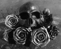 skull and roses amaranth handwrought flowers