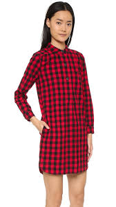 madewell jane plaid flannel shirtdress in red lyst