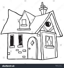 cute little house simple black white cute little house stock vector 332086067