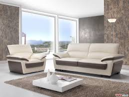 Leather Sofa In Two Colours With High Back - Cream leather sofas