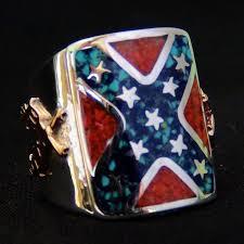 Rebel Flag Ford Confederate South Flag Rebel Biker Silver Ring Sterling Silver Ring