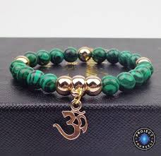 bracelet stone beads images Gold plated om charm with natural stone beads bracelet project jpg