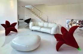 Color Combination With White Contemporary Living Room Decorating Ideas Using Red And White