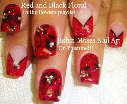 black and red french manicure flower nail art design tutorial with