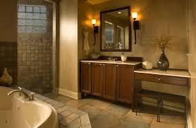 Rustic Bathroom Sconces Craftsman Master Bathroom With Drop In Bathtub By Construction Owl
