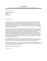 sample cover letter project manager position 1029