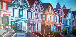row homes grand victorian row homes scenic stage backdrop rental theatreworld