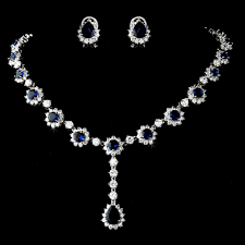 blue sapphire necklace set images Elegant navy blue rhinestone wedding jewelry set jpg