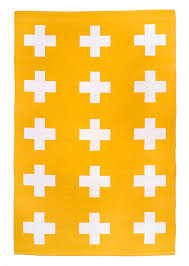 Yellow Flat Weave Rug Union Rug 4x6 Yellow And White Cross Cotton By Patternsociety