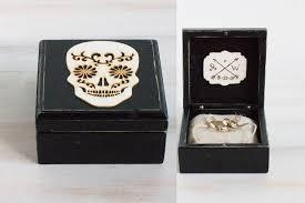 art deco skeleton ring holder images Mexican skull wedding box ring bearer box black wedding ring box jpg