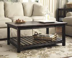Rustic Brown Coffee Table Living Room Cocktail Coffee Table In Rustic Brown With Plank Shelf
