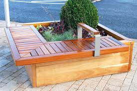 Designer Wooden Garden Benches by Bench With Planter Benches Garden Bench With Planters Uk Garden