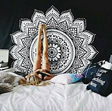 Bohemian Room Decor Amazon Com Ombre Mandala Tapestry Black And White Indian Hindu