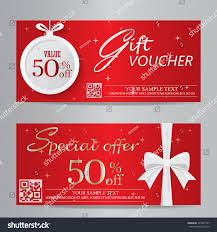 red christmas new year gift voucher stock vector 324231797
