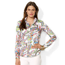 kmart blouses lyst by ralph sleeve wrinklefree paisley shirt
