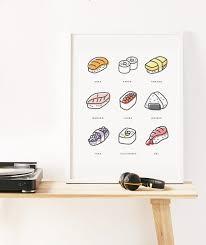 sushi print sushi wall art minimalist art print instant