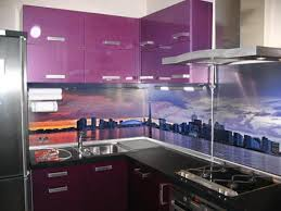 purple kitchen backsplash colorful glass backsplash ideas adding digital prints to modern