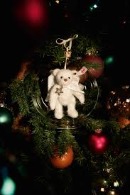 gabriel teddy in bauble ornament white steiff shop