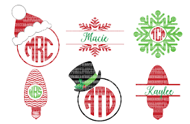christmas svg files monogram frame cut design bundles
