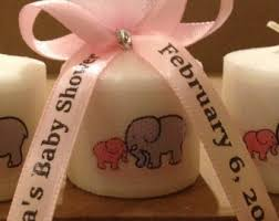 personalized ribbon for baby shower pink elephant candle etsy