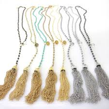 long crystal tassel necklace images Long beaded quot y neck quot and long round tassel necklaces with dangling jpg