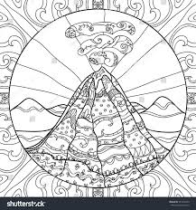 coloring page volcano abstract pattern hand stock vector 341859230