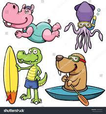 vector illustration cartoon water sport animal stock vector