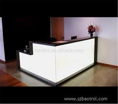 led light desk l acrylic material small office reception desk with led light for